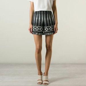 Tory Burch Black & White Savora Fringed Shorts